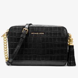 MICHAEL KORS Ginny Embossed Leather Crossbody Bag